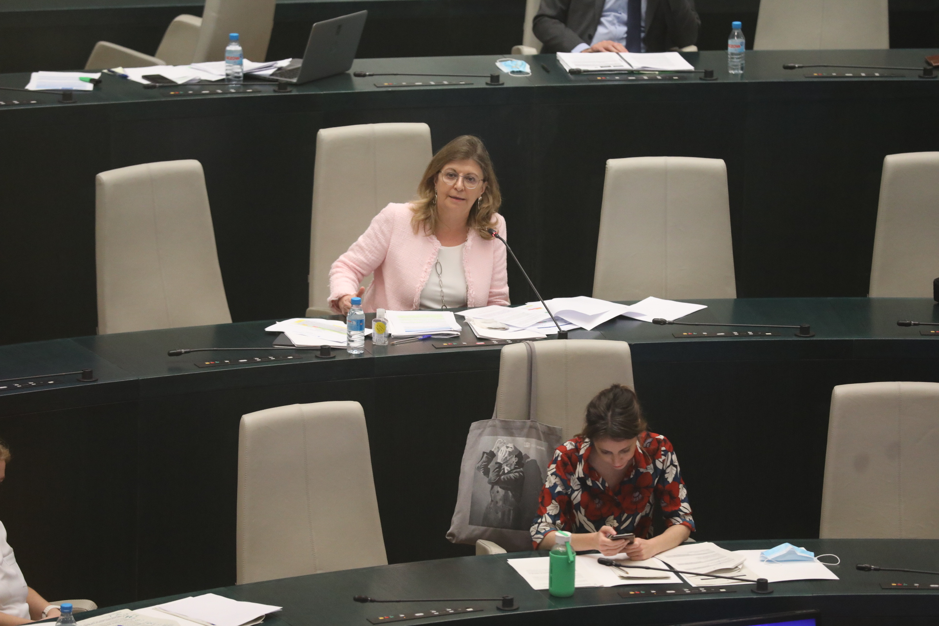 Comparecencia de la delegada de Hacienda y Personal, Engracia Hidalgo, este viernes, en el Pleno municipal