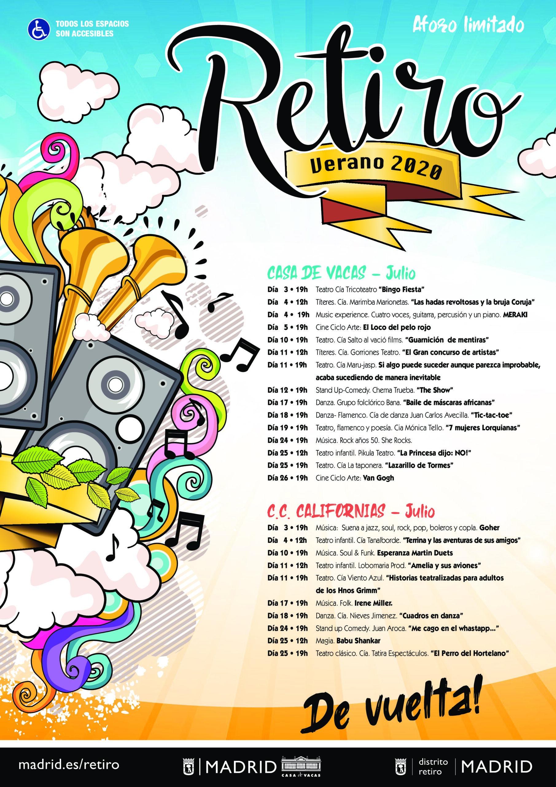 Cartel programación actividades culturales para este verano en el distrito de Retiro