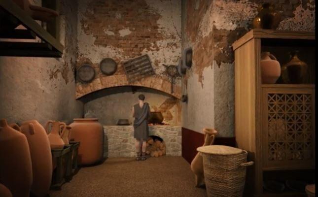 Recreación del interior de la villa