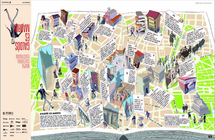 Mapa ilustrado 'Galdós es Madrid'