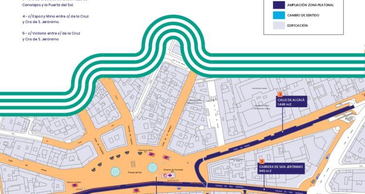 Plano con las nuevas calles peatonalizadas