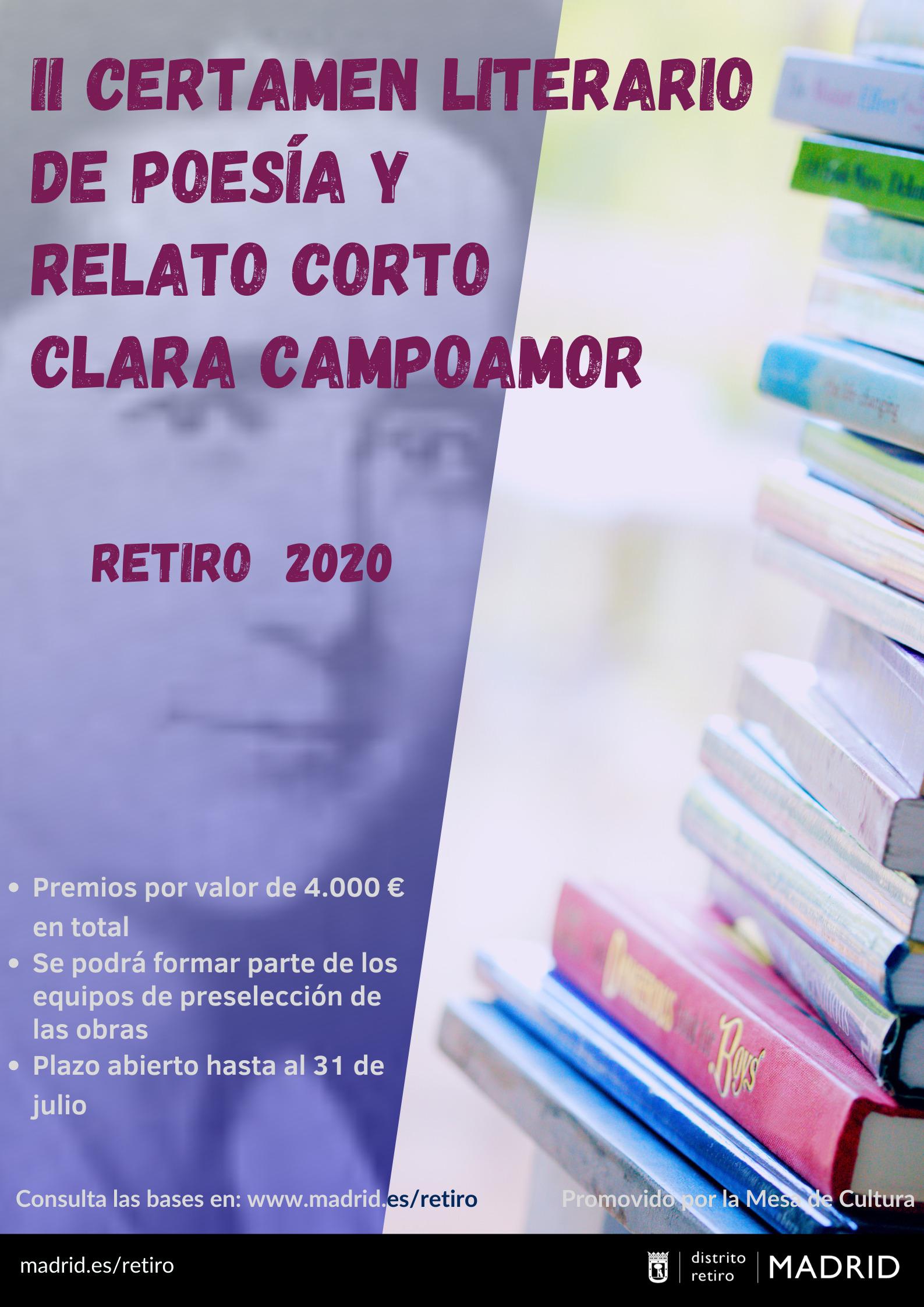 Cartel del II Certamen de poesía y relato corto Clara Campoamor
