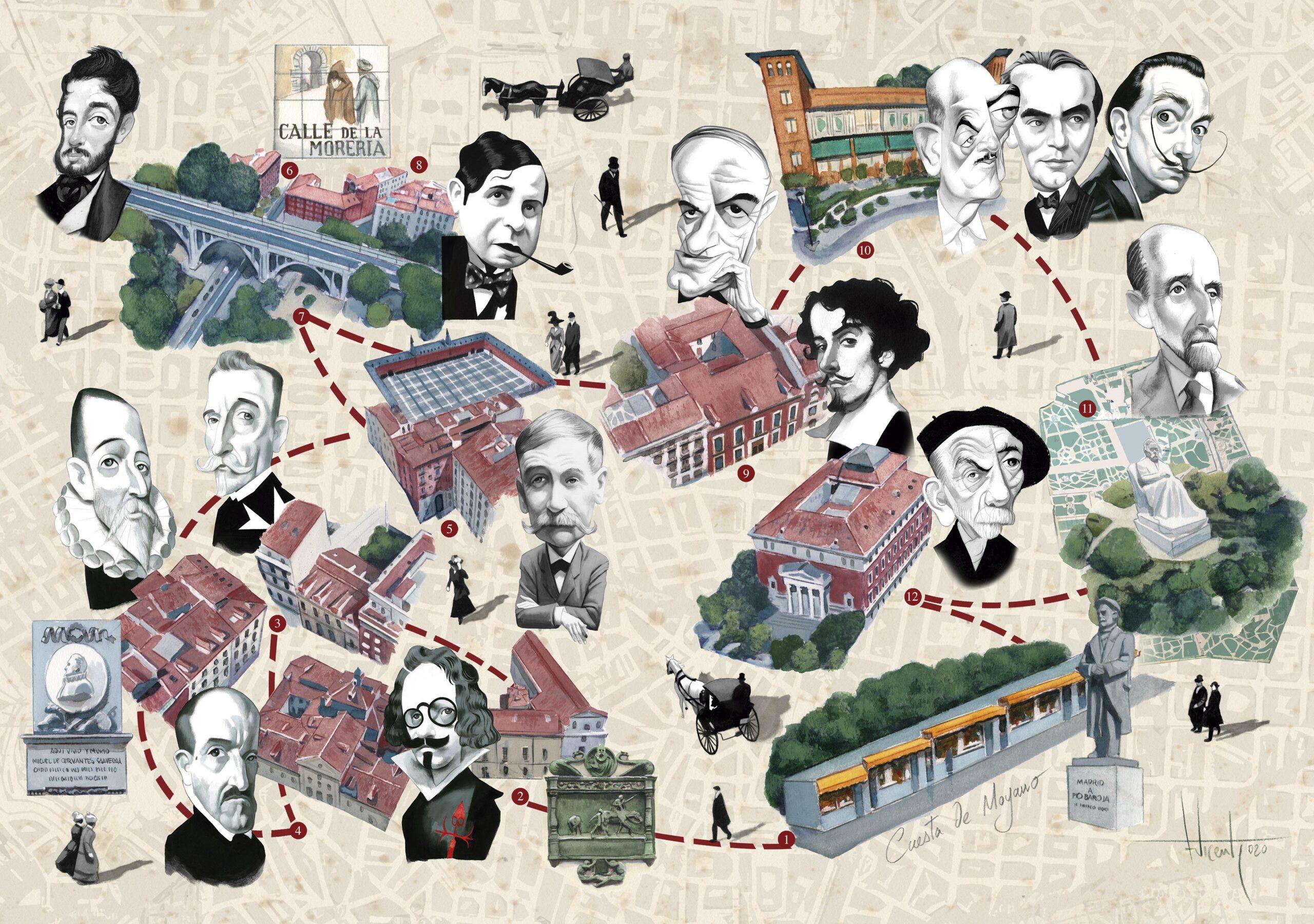 Imagen del mapa ilustrado dedicado a la feria de libros permanente en la calle de Claudio Moyano