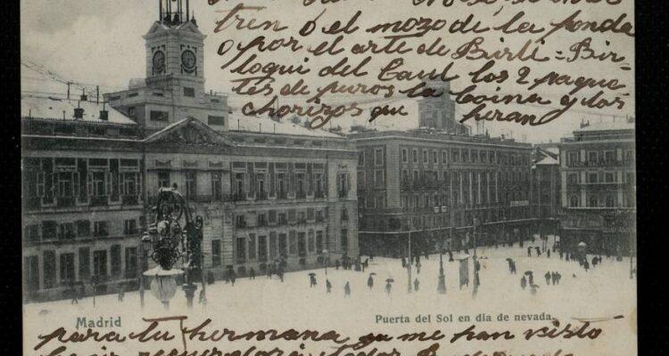 Puerta del sol nevada. Postal anterior a 1905. Memoriademadrid.es