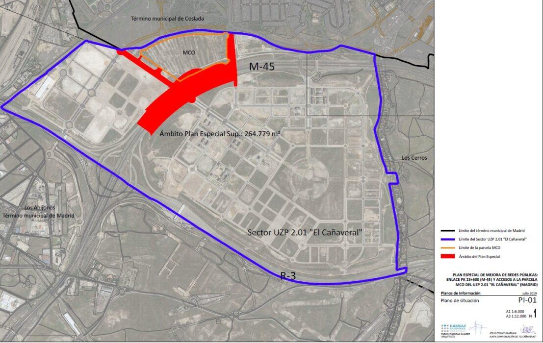 Plano Plan Especial para la mejora del acceso a la M-45 en El Cañaveral