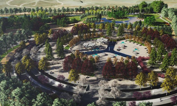 Recreación del aspecto futuro del parque