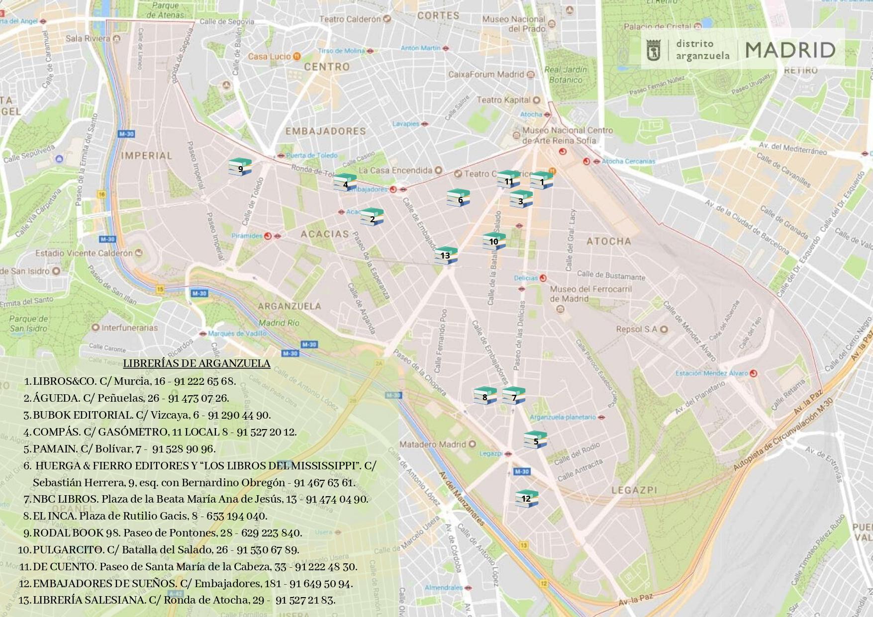 Mapa con las librerías del distrito