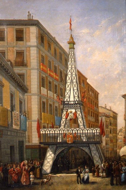 Calle madrileña engalanada (1890, Museo de Historia de Madrid, In. 4110)