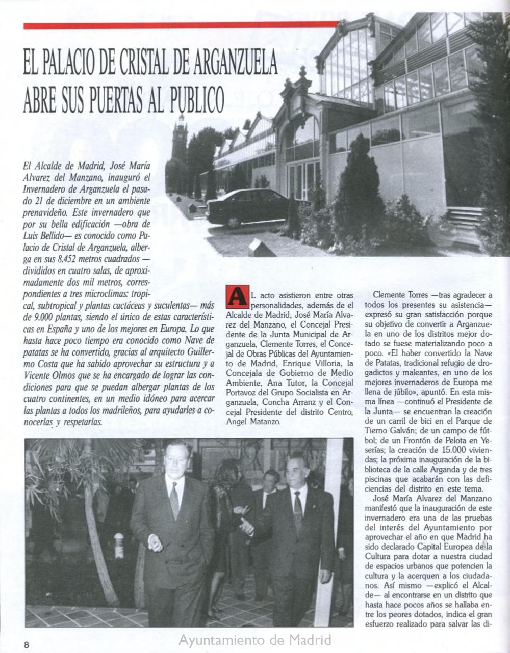 Artículo de la revista 'Conocer Arganzuela' de 1993 narrando la inauguración del Palacio de Cristal. Pág.1. Memoria de Madrid.