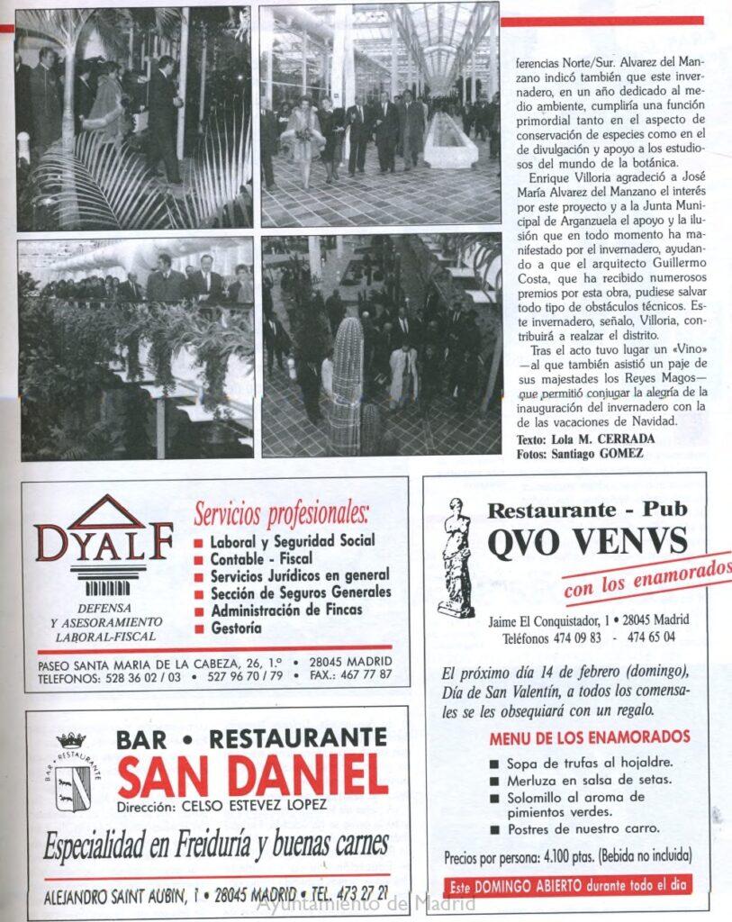 Artículo de la revista 'Conocer Arganzuela' de 1993 narrando la inauguración del Palacio de Cristal. Pág.2.Memoria de Madrid.
